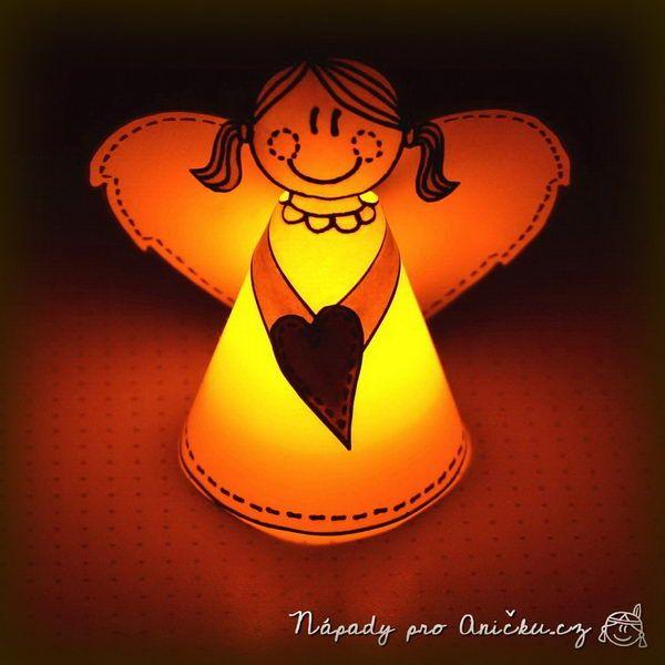 Vánoční dekorace - svítící andělíček