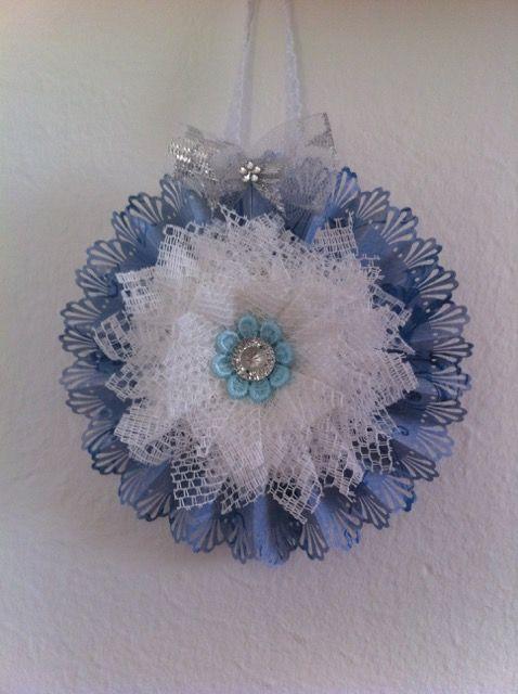 rosette w. handmade flower
