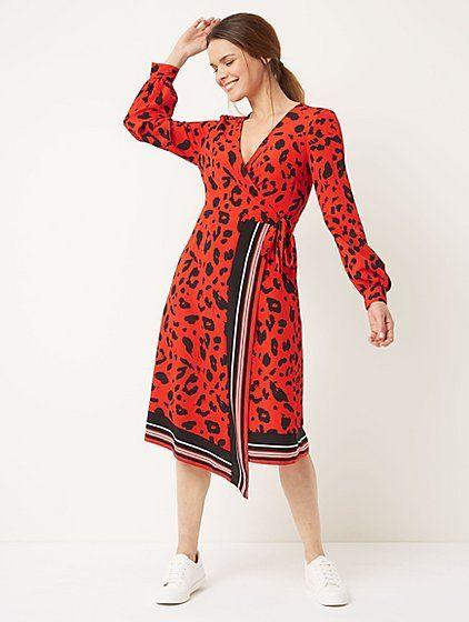 Red Animal Print Wrap Midi Dress in 2019  9ab065bb0