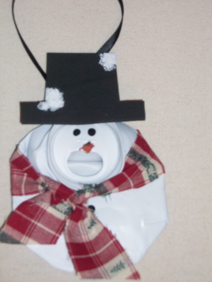 Recycled crushed can ornament snowman craft projects for Christmas crafts out of tin cans
