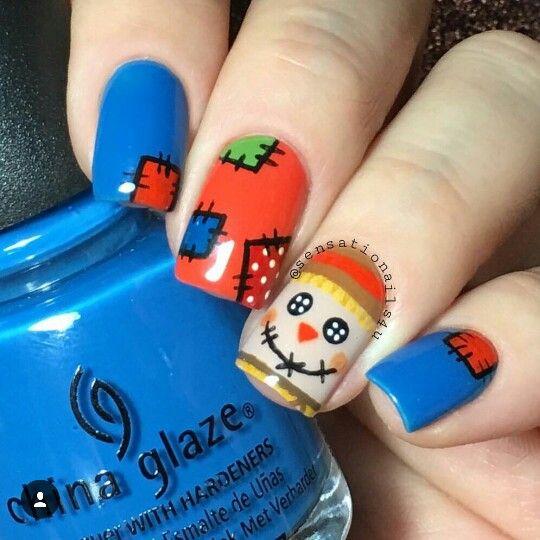 #sensationalnails4u cute scarecrow nails