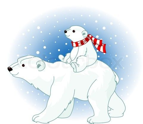 Vector of 'Polar Bear mom and baby riding on her back'