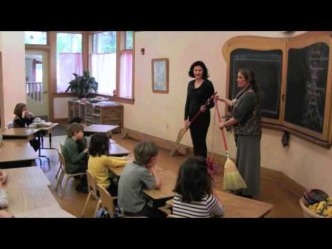 """This is a video of Waldorf Handwork Teachers demonstrating how to cast on and knit to the a 1st grade class using a song/rhyme. Cast on: """"In through the front door run around the back peak through the window, let go, Jack grows and jumps on the stack."""" Knitting: """"In through the front door run around back, peak through the window and off jumps Jack!"""""""