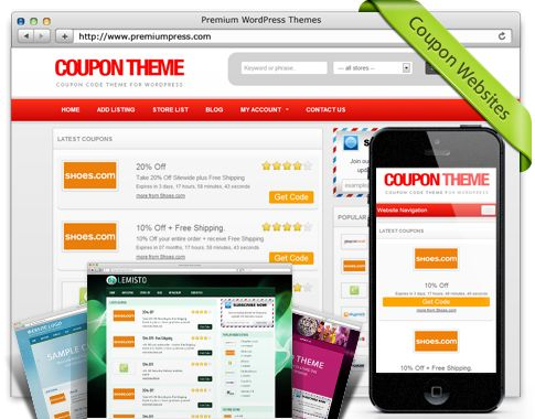 50% OFF - PremiumPress Responsive Coupon Theme (Wordpress)  PremiumPress Responsive Coupon Theme (WordPress) 50% Discount Coupon Code  PremiumPress Responsive Coupon Theme is an affiliate coupon website theme ideal for online coupons, offers and discount codes. Supports iCodes, CSV and XML feed imports.