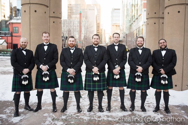Groom and wedding party in kilts