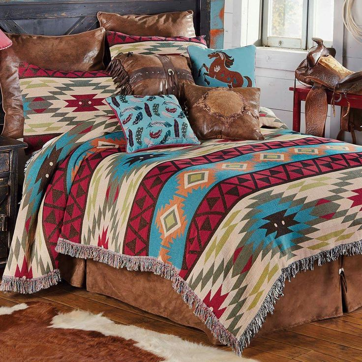 Woven With A Classic Kilim Design In A Vintage Palette Of Blues, Reds And  Greens, The Cotton/poly Southwest Expressions Tapestry Bedding Collection  Creates ...