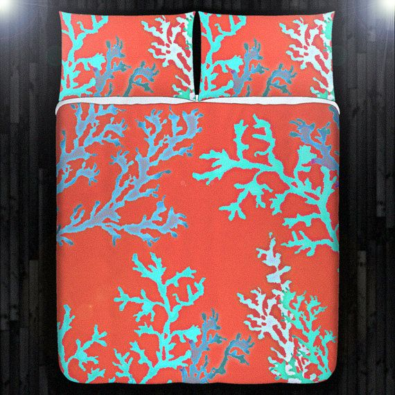 Aqua Red Coral Reef Duvet Cover Bedding Queen Size King