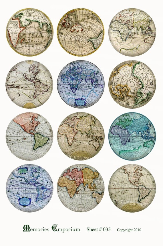 Antique world globe maps earth continents hemispheres vintage charts decoupage sheets