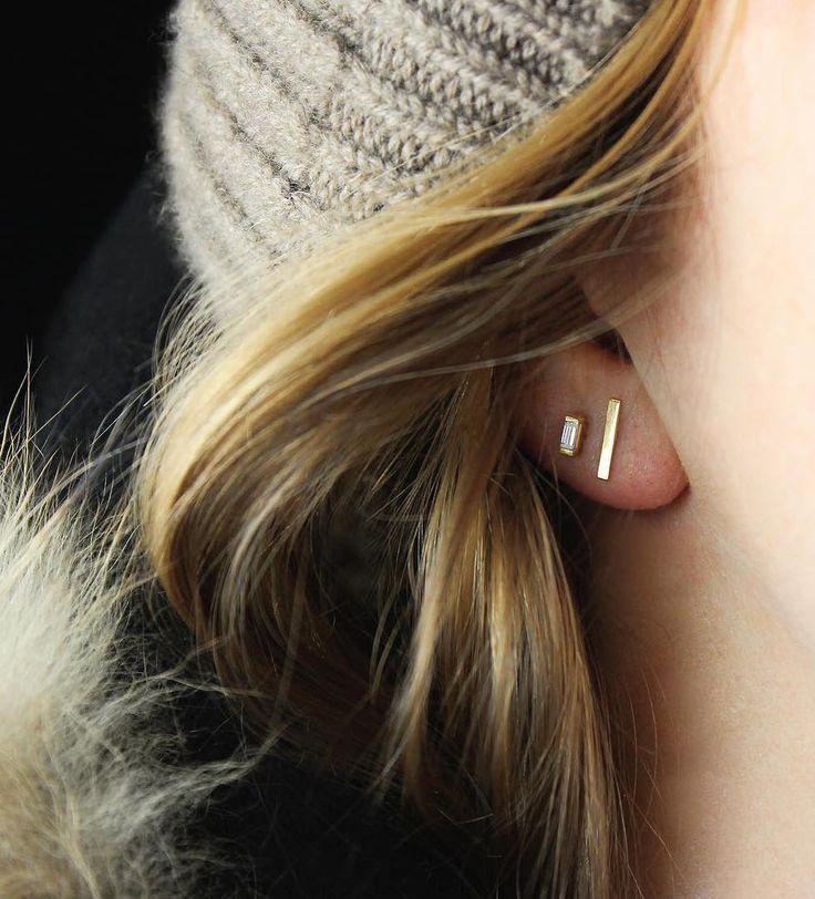 The Baguette Diamond Earring + Line Studs | Vrai & Oro