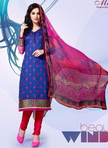 Mayur 1607 - Blue & Red Color Cotton Designer Suit