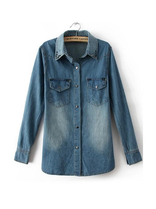 deep blue long sleeve turn-downn neck cowboy shirt -