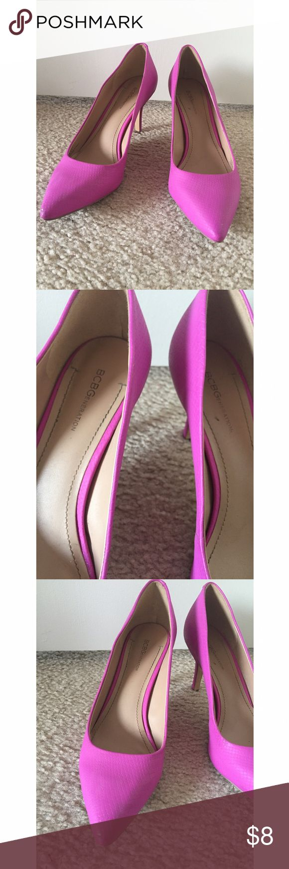 High Heels Beautiful pumps, have been slightly used. Super comfy and awesome to wear to help brighten up an outfit!! Wear is seen in third and fifth photos. ❤ BCBGeneration Shoes Heels