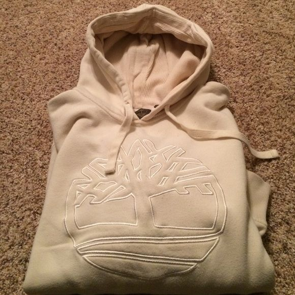 Timberland Hoodie Cream colored, worn a few times... Tried to capture a tiny bit of the piling, but not that noticeable. Hood has a thermal lining. Tons of wear left! (Mens, although I wore this) Timberland Tops Sweatshirts & Hoodies