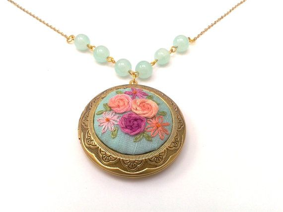 Sweet roses, hand embroidered ,floral, locket, necklace. romantic, boho.