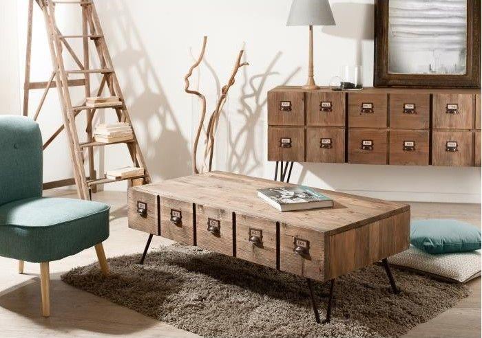 Saragosse Table Basse Style Industriel En Pin Et Metal Verni