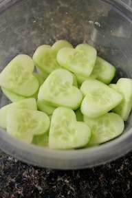 Valentines Day Salads:  1. Cucumbers cut w/cookie cutters; add cheese cut out as flowers or as O  X and some greens. 2. Cut a V to top of strawberries, slice vertically in the opposite direction; add orange and some nuts.