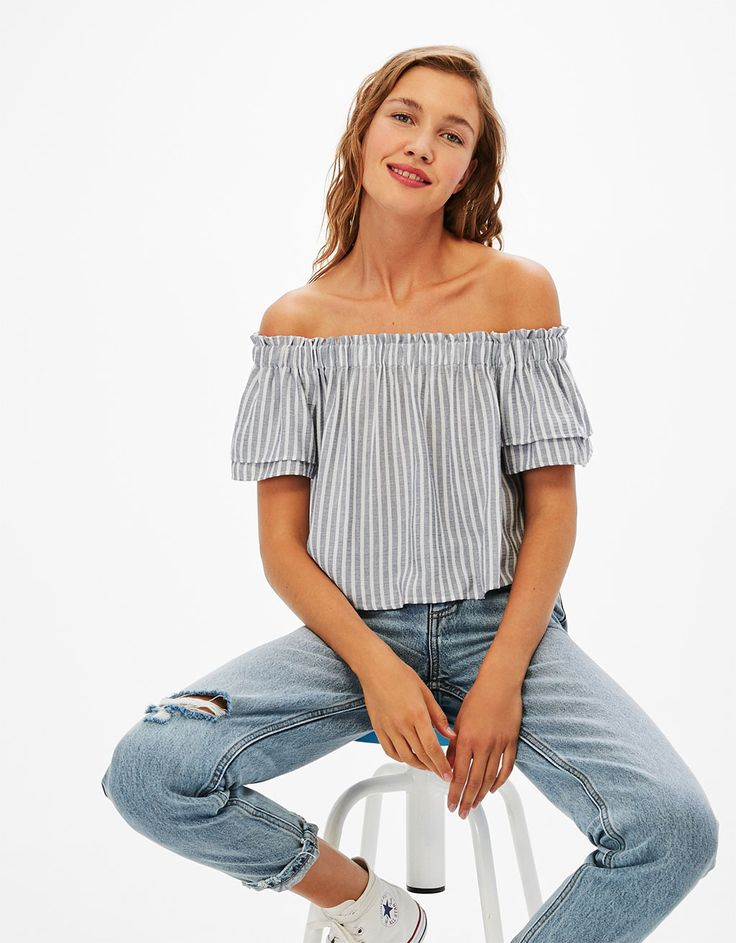 Striped bardot top. Discover this and many more items in Bershka with new products every week