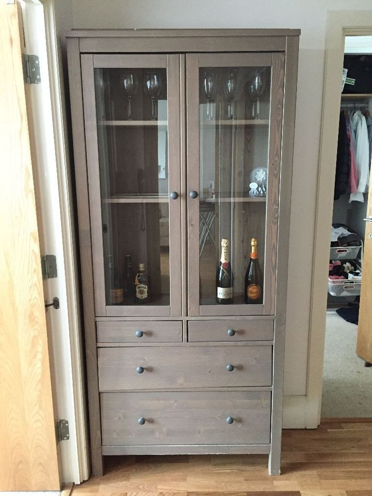 Glassdoor Cabinet With 3 Drawers Light Brown Grey