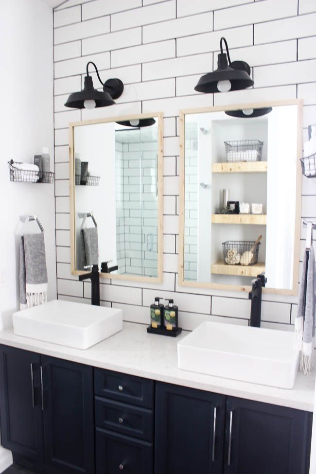 Bathroom Renovation Farmhouse Fixer Upper Style White Shiplap Subway Tile Stand Up Shower Wood Modern Bathroom Renovations Modern Bathroom Wood Grain Tile