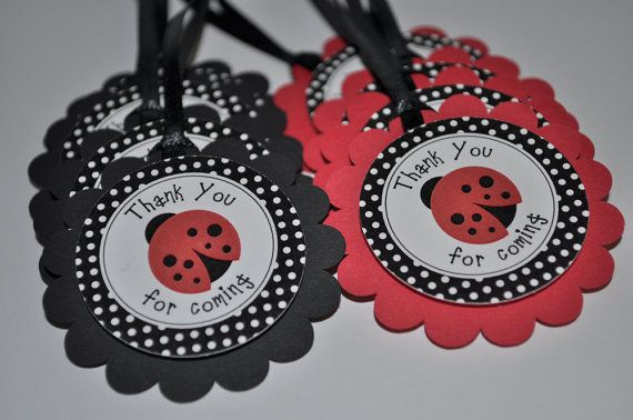 12 Favor Tags Ladybug Personalized - Birthdays or Baby Showers via Etsy