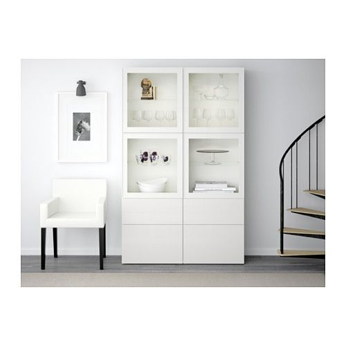 "BESTÅ Storage combination w/glass doors - white/Selsviken high gloss/white clear glass, drawer runner, push-open, 47 1/4x15 3/4x75 5/8 "" - IKEA"