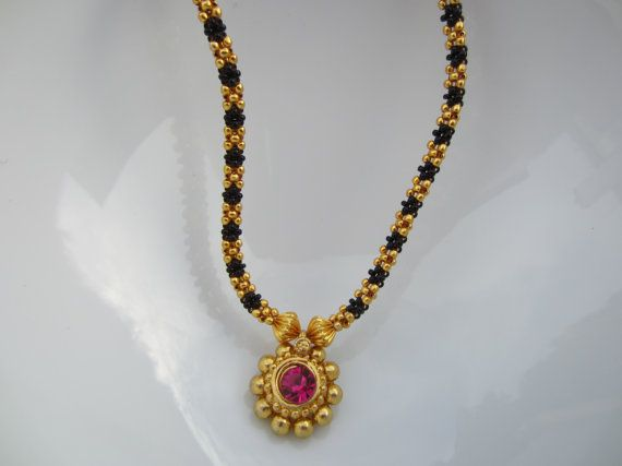 Pink Stone Kolhapuri Necklace Black and Gold Beads by Alankaar, $25.00