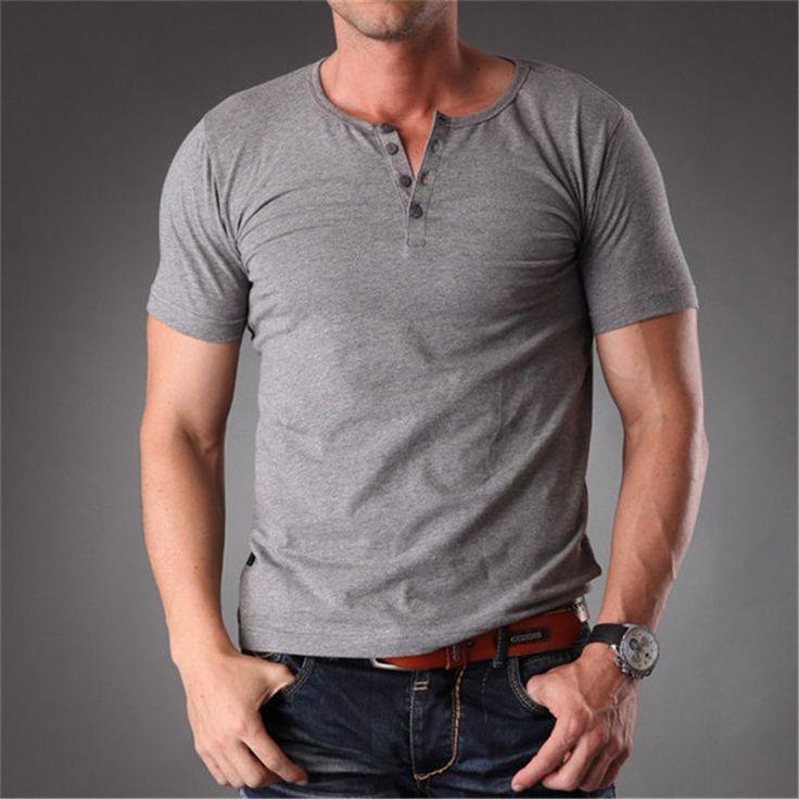 Azel Plain Blank T Shirt Men 2017 Grey Stretchy Muscle Body Slim Fit Short Sleeve Top With Buttons Summer Clothes Men MT-1355 Buy now for $ 29.50   #chandigarh #delhi #mumbai #gurgaon #instalike #followforfollow #flare #denim #celebrity #trendy #diva #women #online #shopping #fitgirls #fitnessmotivation #selftime #energy #lovebody #eshopoly