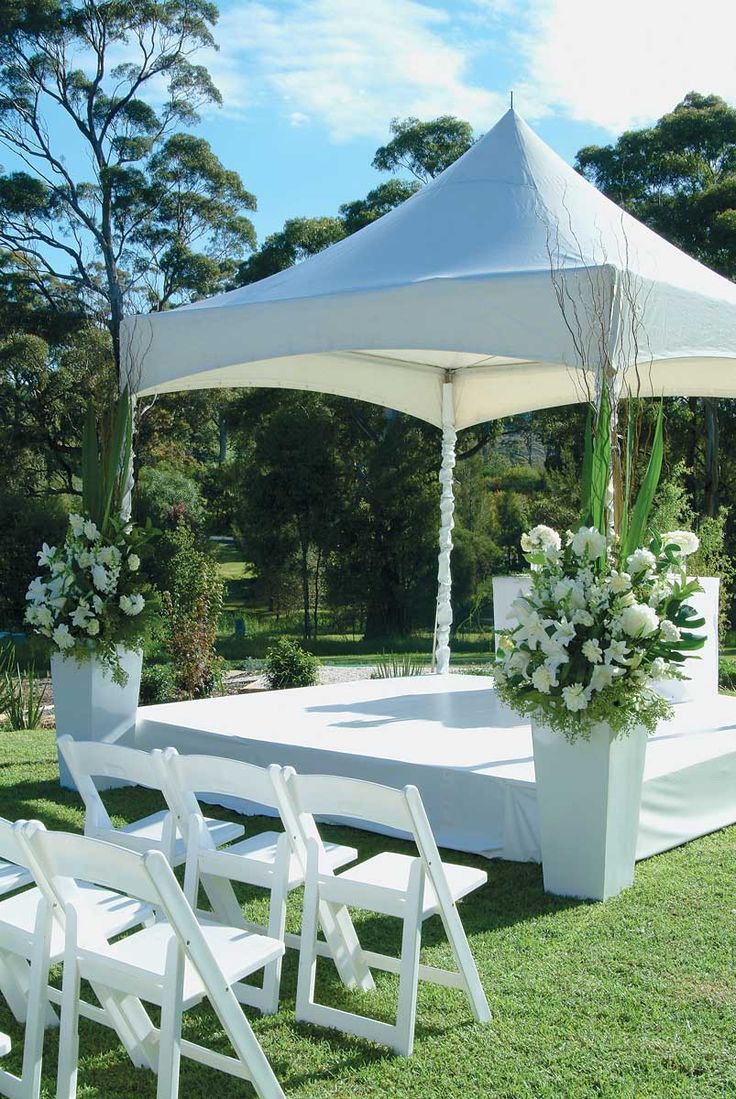 GARDEN CEREMONY.  A gorgeous outdoor ceremony, at home or in your favourite park, provides a picture-perfect setting of manicured lawn and colourful gardens. Include a pavilion strewn with rose petals to create a romantic spot to exchange your vows. Ceremonies Galleries | Wedding Hire Ideas. #weddings #YourEventSolution