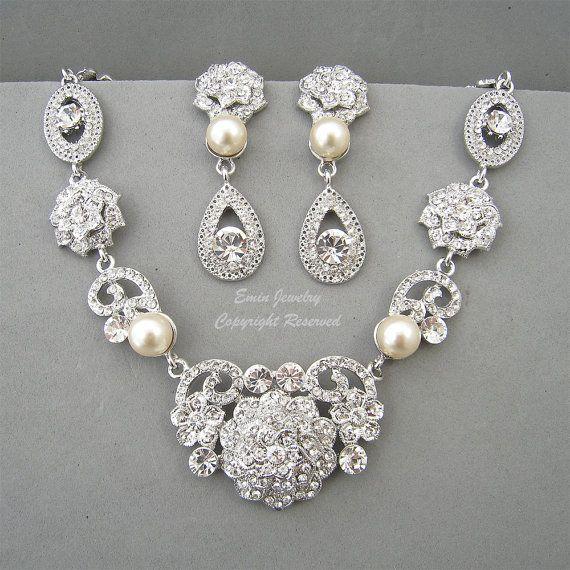 Vintage Style Bridal WEdding Necklace Earrings by eminjewelry, $86.00
