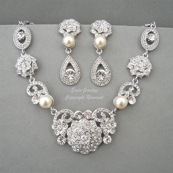 Vintage Style Bridal WEdding Necklace Earrings by eminjewelry, $86.00