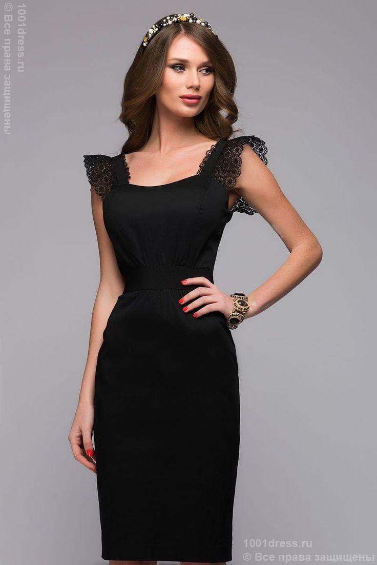 Купить черное платье-футляр с вырезом и молнией на спинке в интернет-магазине 1001DRESS