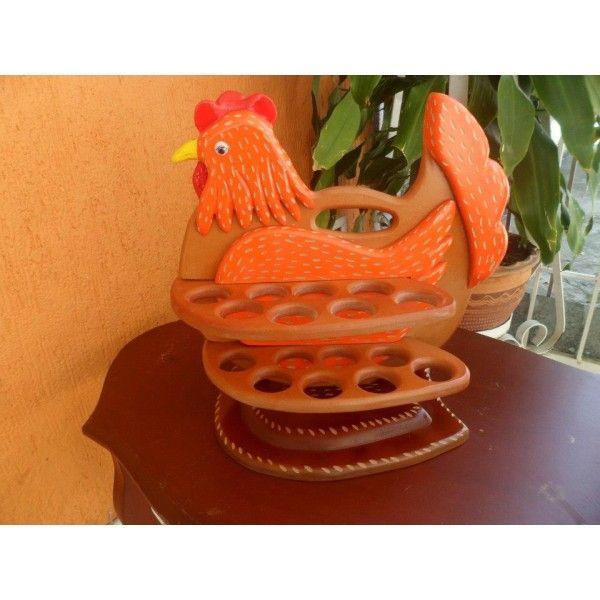 Portahuevos tipo gallina en madera - Ventas online Arianor