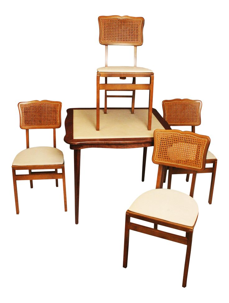 Stakmore Mid-Century Modern Folding Table & 4 Chairs on Chairish.com