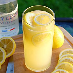Not your Grandma's lemonade. This Lucky Lemon Seven cocktail is a combination of the juices of muddled lemons, 7Up and Grey Goose Vodka!