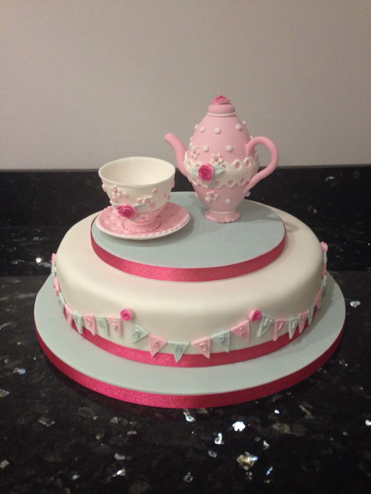 Teapot & teacup on cake decorated with bunting for a retirement celebration