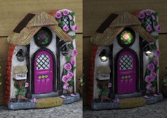 Wild Rose Fairy Door – Fairytale Solar Fairy Garden Door for Outdoor Fairy Garden Accessories Fairy House Fairy Castle – Enchanted Acorn Products