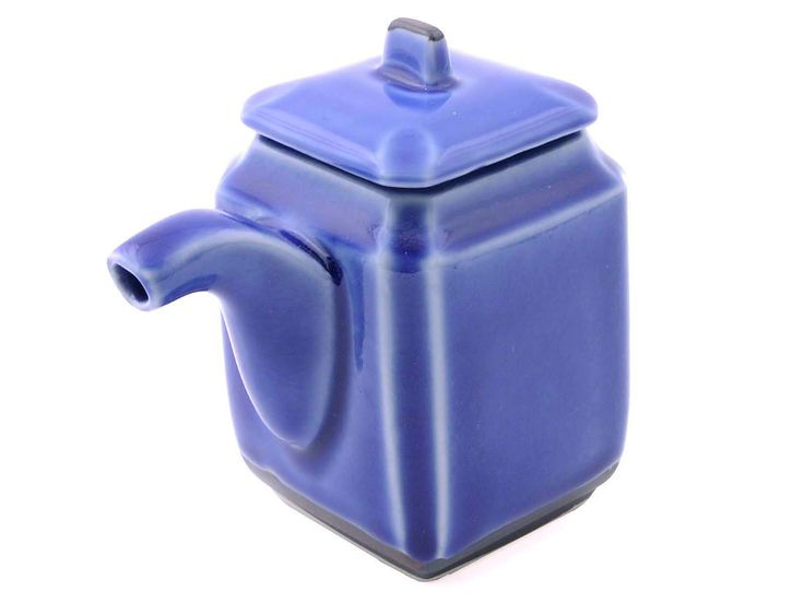 Blue With Brown Alloy Sauce Dispenser