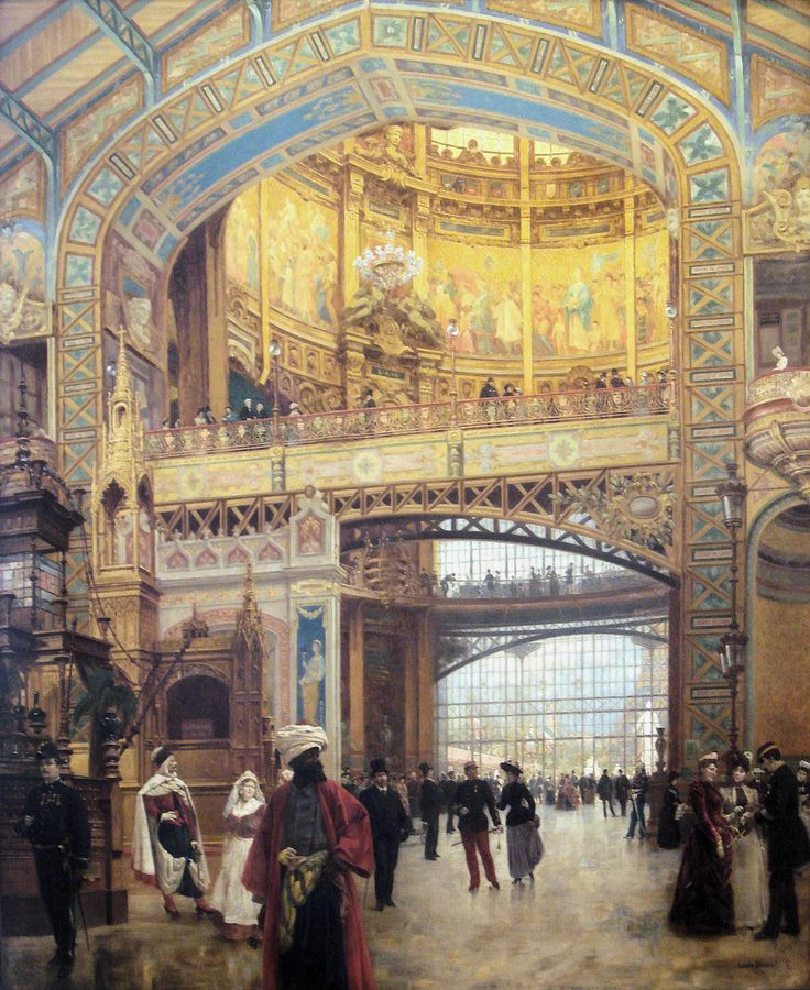 "BEROUD Louis,1889 - Le Dôme Central de la Galerie des Machines lors de l'Exposition de 1889 - 0  -  TAGS/ art painter details détail détails detalles painting Carnavalet museum painters exhibition Paris France Champ-de-Mars urban urbain  people crowd foule visitors visiteurs ""Exposition Universelle""  verrière canopy Eiffel-Tower Tour-Eiffel elegance fashion mode contrôleur ticket-puncher poinçonneur ""jeune femme""  ""young woman"" serving uniforme uniform balcon balcony century peintures"