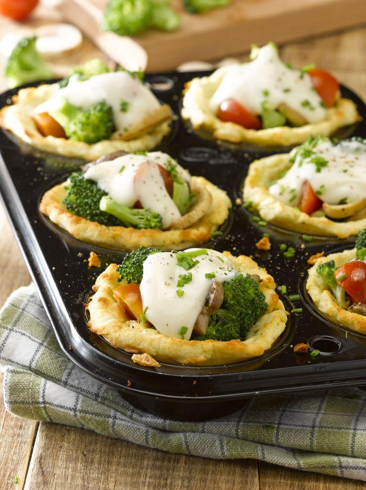 Canastos de puré con verduras