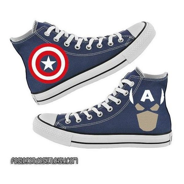 Captain America Custom Converse Painted Shoes ❤ liked on Polyvore featuring shoes, lucite shoes, converse shoes, converse footwear and acrylic shoes