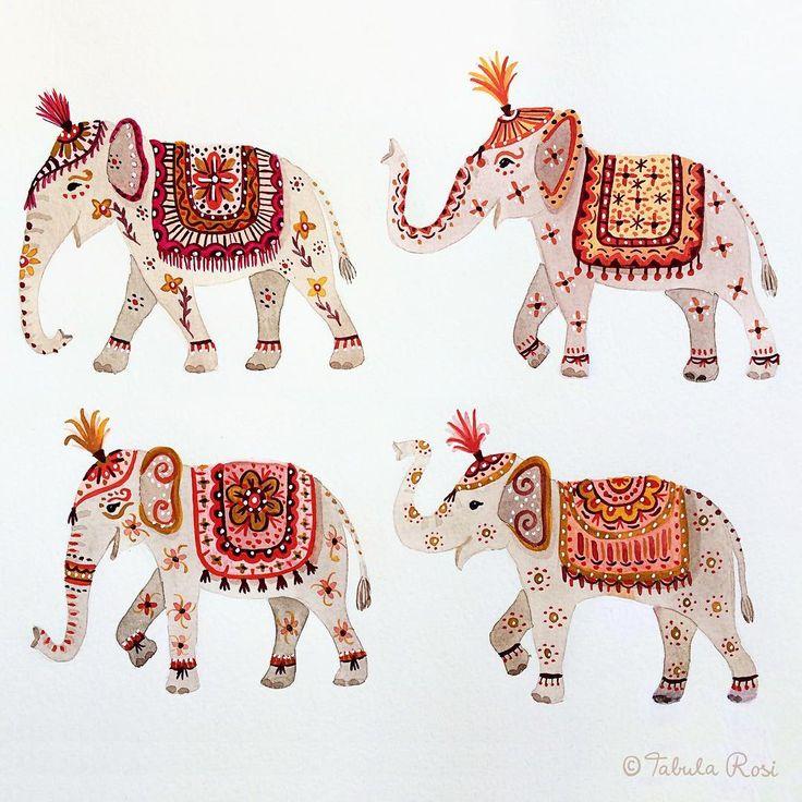 Painting indian elephants is fun!   #sketchbook #watercolor #elephants #illustration #artoftheday #artistsoninstagram #illustratorsofinstagram  #tabularosi