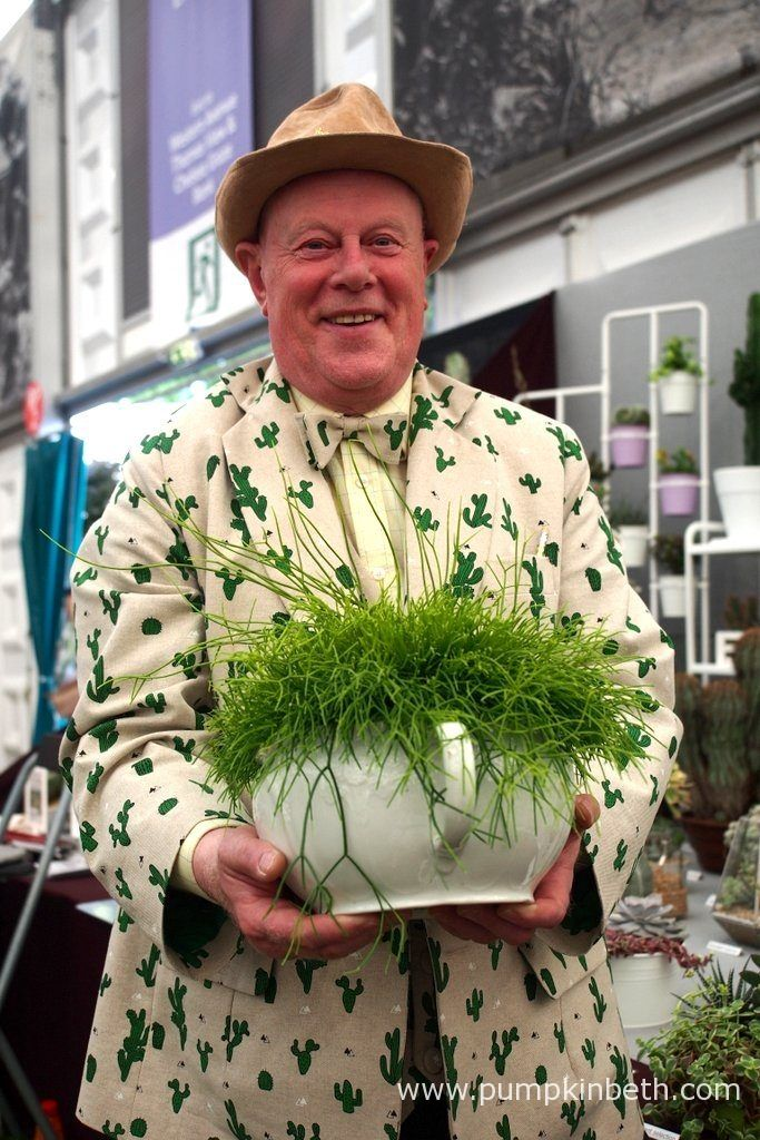 Stan Griffin from Craig House Cacti, pictured with Rhipsalis cassutha, at the RHS Chelsea Flower Show 2017.