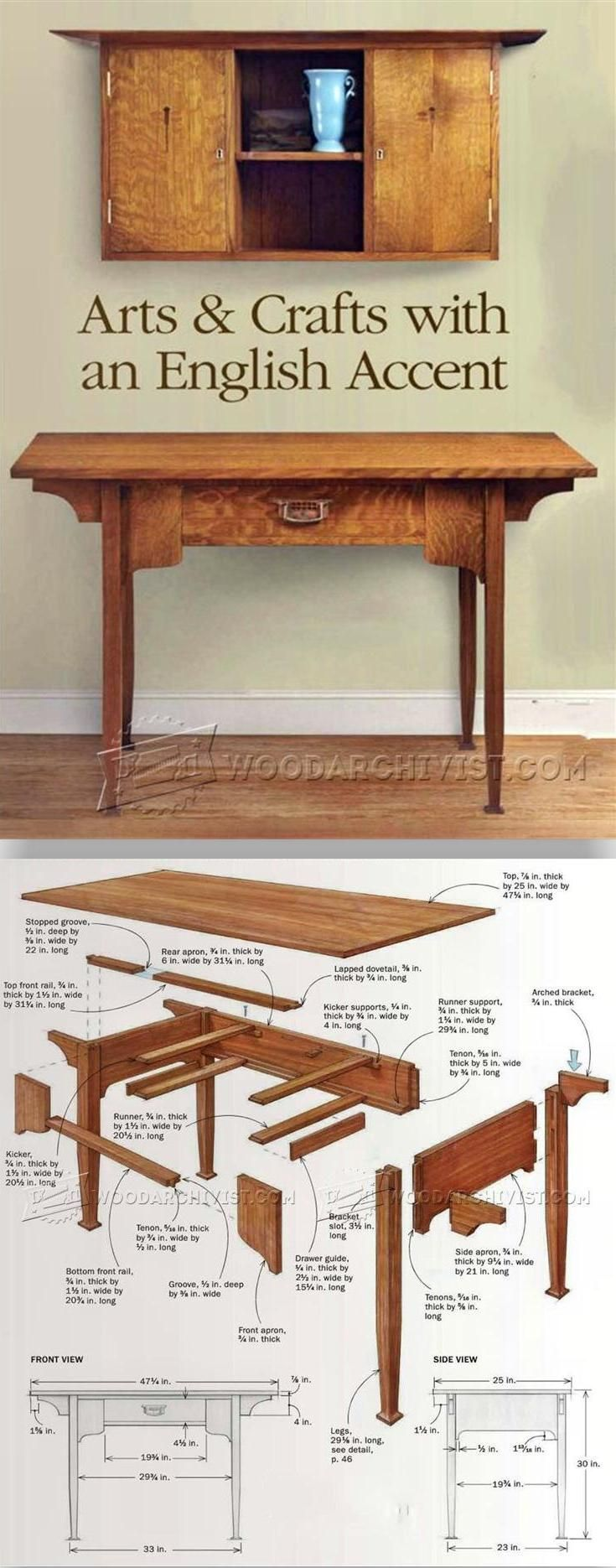 Arts and Crafts Desk Plans - Furniture Plans and Projects | WoodArchivist.com