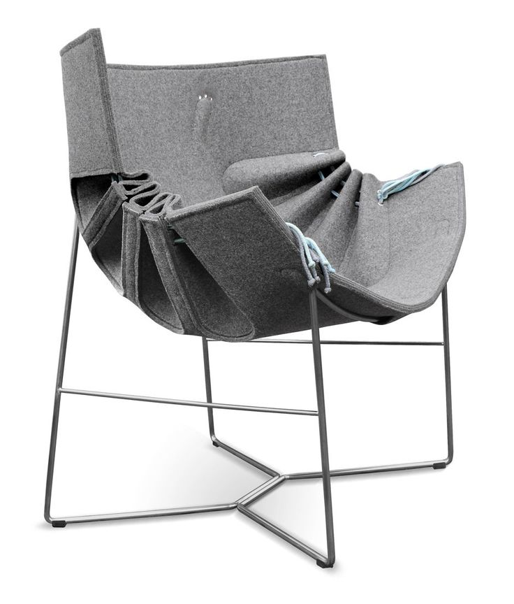 *product design, furniture, seating, armchair, grey* - The Polish design studio MOWO have created the Bufa chair. With the pull of the string on both sides, the proper pattern makes it possible to transform the two-dimensional felt into a spacial shape.