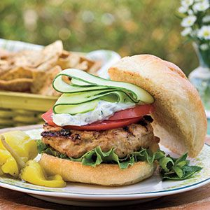 Greek Turkey Burgers | MyRecipes.com. To make the cucumber ribbons shown in the photo, use a Y-shaped vegetable peeler to cut thin slices of cucumber lengthwise. If you're in a hurry, cut the cucumber into thin, round slices.: Southern Living, Yummy Recipes, Red Onions, Dry Oregano, Dinners, Greek Recipes Burgers, Turkey Burgers Recipes, Greek Burgers, Greek Turkey Burgers