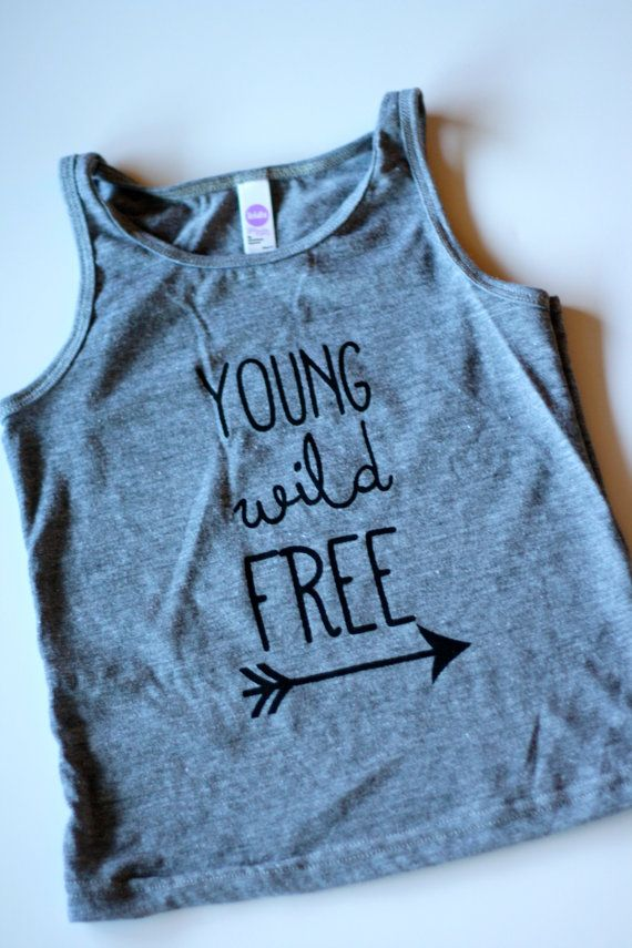 Young Wild Free- Childrens Tank Top- Kids Shirt- Gray Black Shirt for Kids- Cool Shirt for Kids-  Arrow- American Apparel Tri Blend Tank Top on Etsy, $20.14 CAD