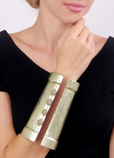 Handformed Antique Cuff Bracelets from India – Pair of Large Silver Cuffs from JeGem.com