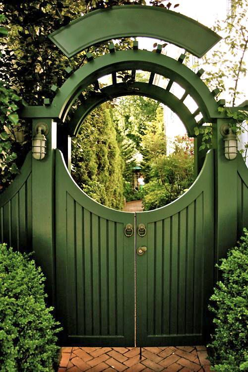 A very attractive green gate.