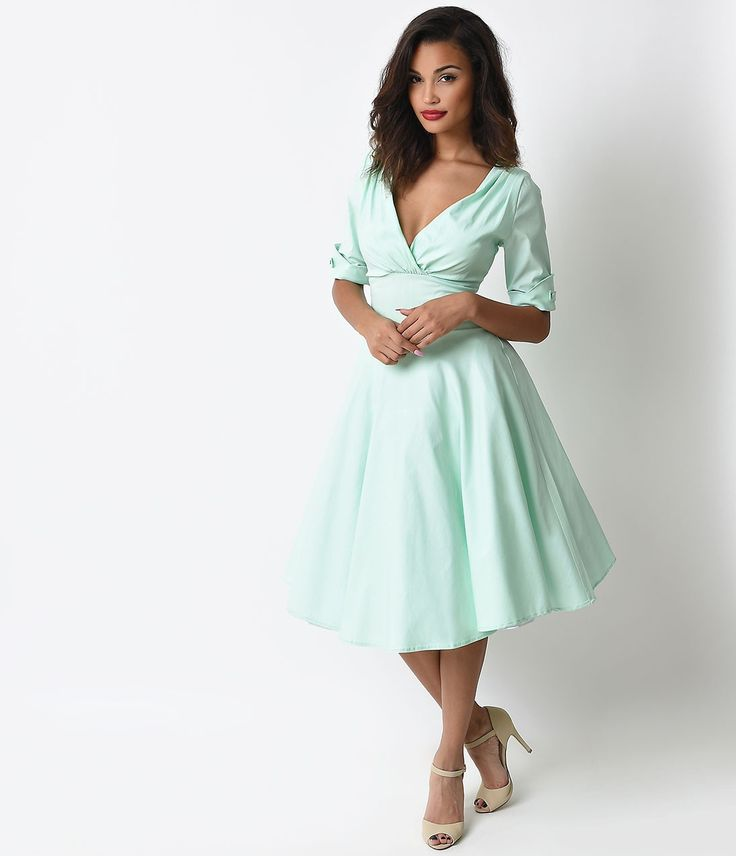 Unique Vintage 1950s Style Mint Delores Sleeved Swing Dress