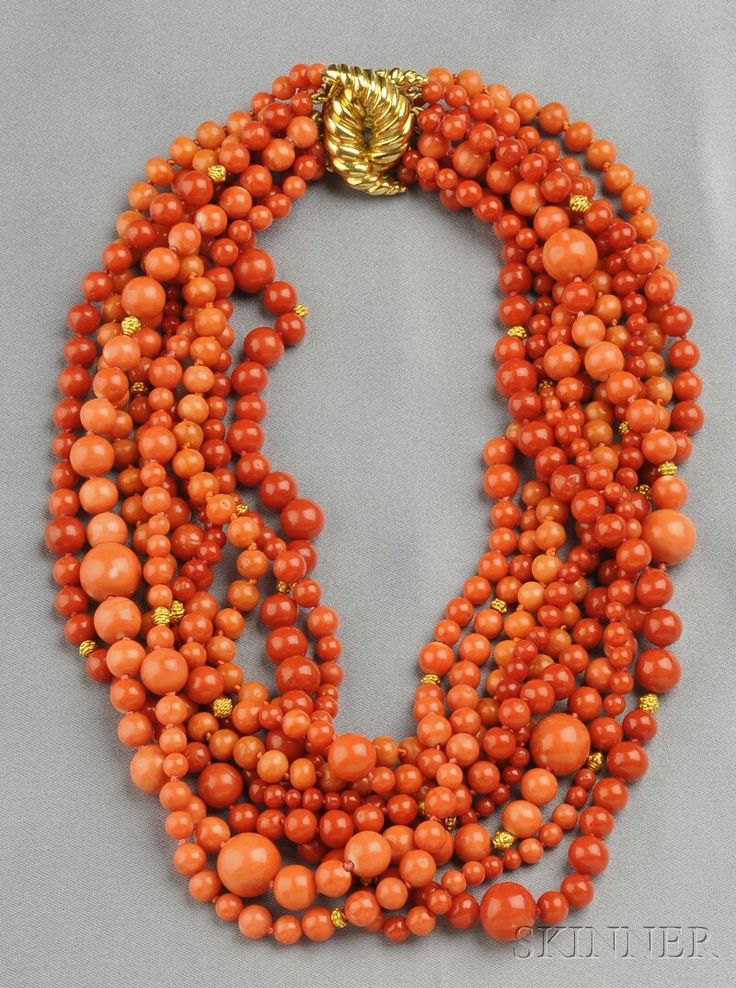 $16,500.00. Multi-strand 18kt Gold and Coral Bead Necklace, Verdura